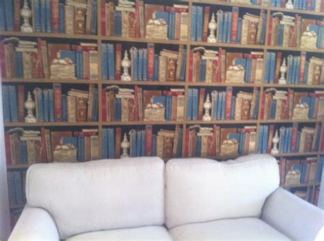 bookshelf wallpaper gives an instant library feel