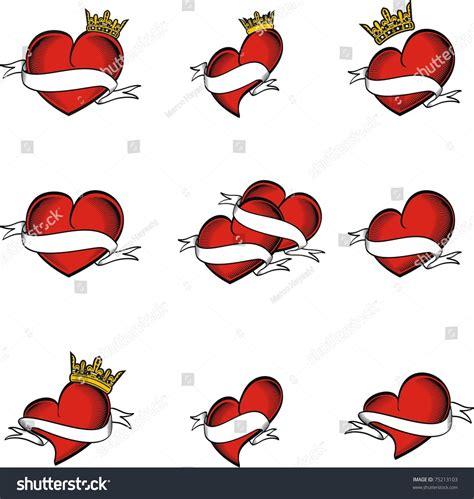 heart tattoos vector heart tattoo sticker set in vector format 75213103