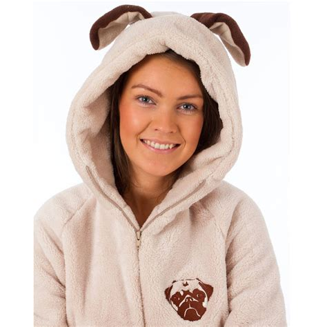womens pug onesie pug onesie by the all in one company notonthehighstreet