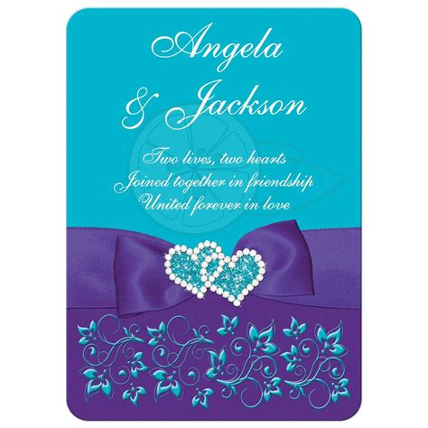 turquoise purple white floral wedding invite printed on bow jewels