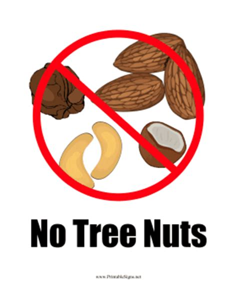 No 1 Nuts printable nut allergy sign