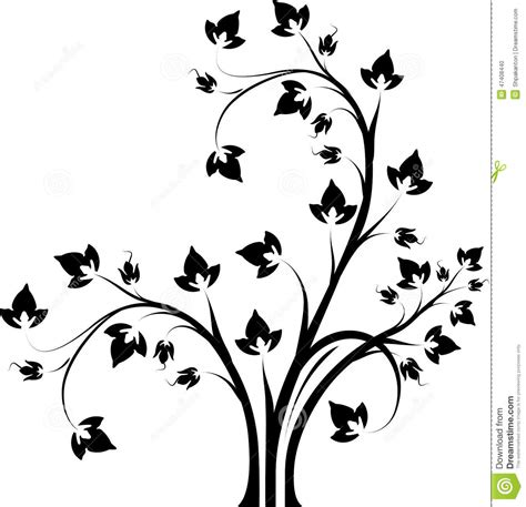 Tree Branch Wall Sticker decorative floral branch black and white stock vector