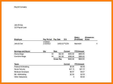 8 Template For Pay Stub Microsoft Word Sles Of Paystubs Microsoft Word Pay Stub Template