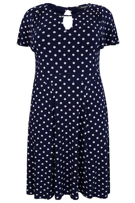 Dress Navy Polkadot jo navy white polka dot dress with keyhole