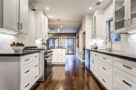 Galley Kitchen White Cabinets Galley Kitchen White Shaker Cabinets Silestone Kesho Grey Daltile A La Mod
