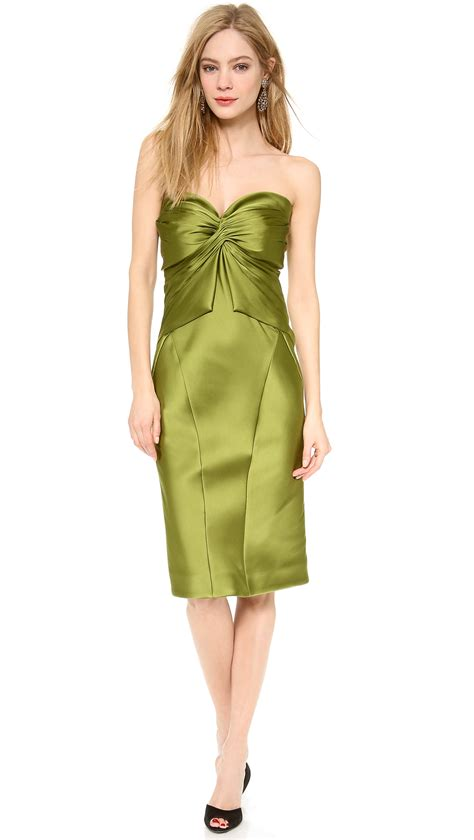 Dress Lime lyst zac posen strapless cocktail dress lime in green