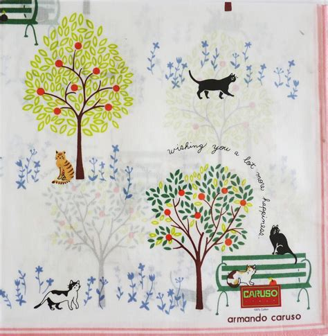 Armando Caruso 1 armando caruso cotton hankie handkerchief cats in