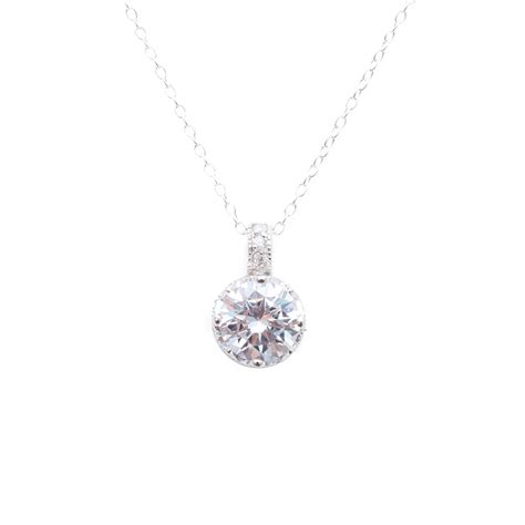 sterling silver simple cz pendant necklace sstp00853