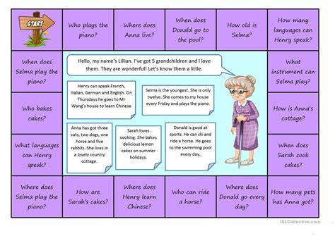 printable board games adults boardgame wh questions grandma worksheet free esl