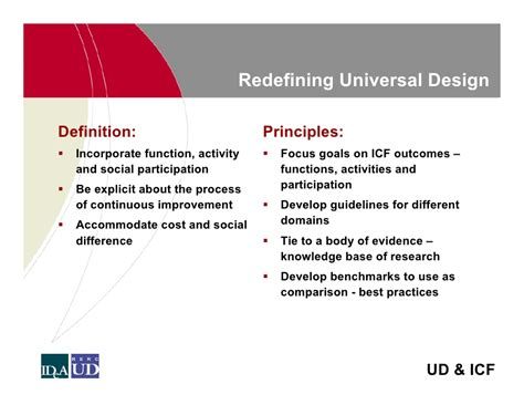 layout principles definition universal design and the icf