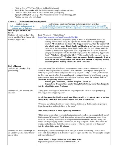 ode lesson plan template ode to a special person lesson plan