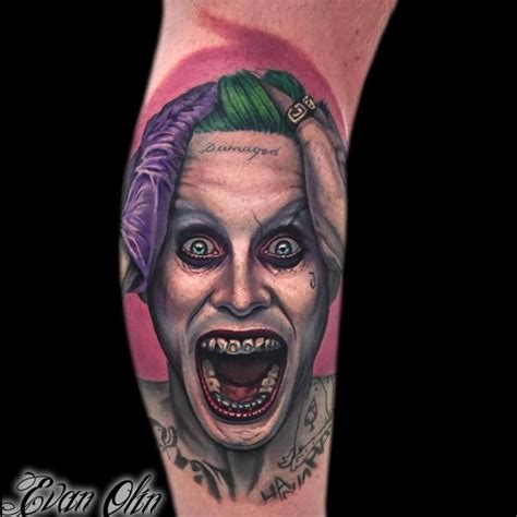 joker traditional tattoo neo traditional colored arm tattoo on creepy joker face