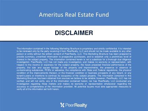 Ameritus Real Estate Fund Webinar Real Estate Disclaimer Template