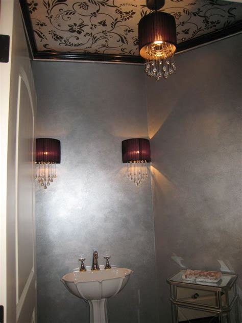 metallic wall paint powder room with metallic paint on ceiling stencil and