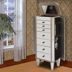 powell mirrored wooden jewelry armoire silver walmart