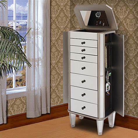 Mirrored Jewelry Armoire by Powell Mirrored Wooden Jewelry Armoire Silver Walmart