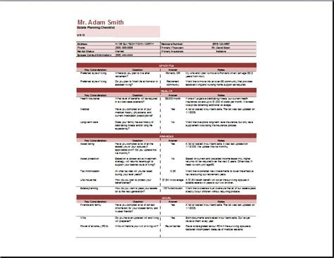 estate template estate planning checklist template word excel templates