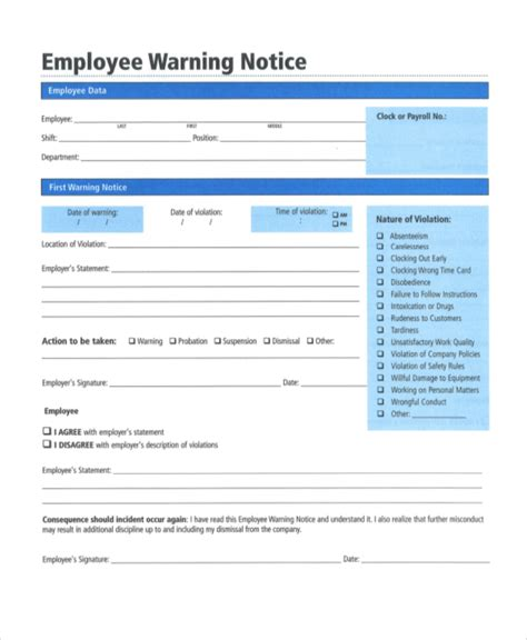 employee notice form hr employee warning notice form