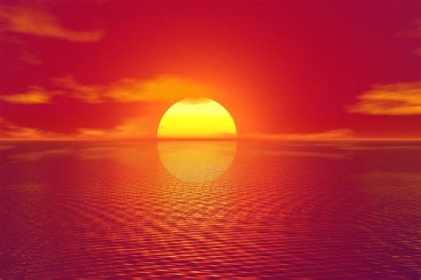 imagenes sol 4k フリーイラスト素材 イラスト 風景 自然 太陽 夕日 夕暮れ 夕焼け 日の入り 海 赤色