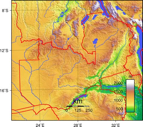 detailed zambia topographical map zambia detailed