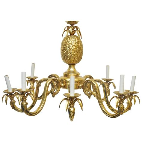 Pineapple Pendant Light Large Scale Solid Brass Pineapple Chandelier At 1stdibs