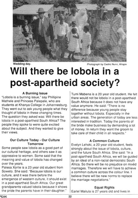 Will There Be Lobola In A Post-apartheid Society? by SPEAK