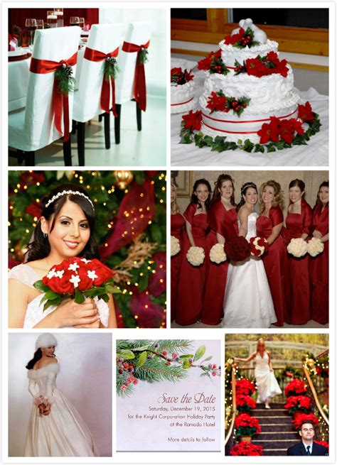 Christmas wedding with red flowers