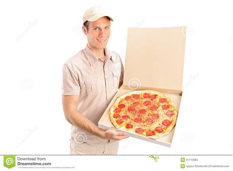 pizza delivery a delivery boy delivering a pizza stock photo image