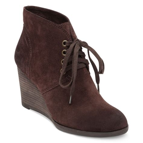 lucky brand lucky boots swayze wedge booties in brown