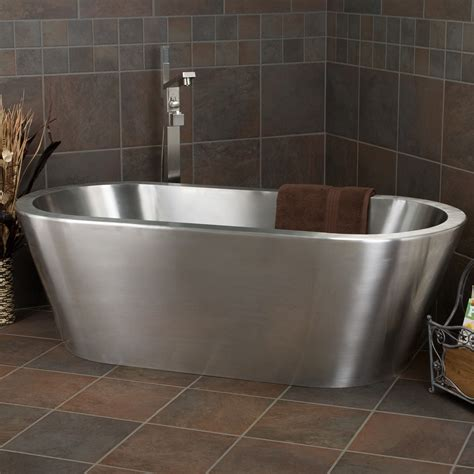 stainless bathtub signature hardware collette stainless steel freestanding