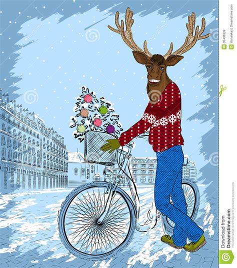 bicycle art christmas tree deer on bike with tree stock vector illustration of speed bike 35496339
