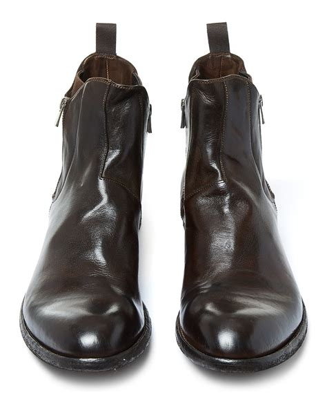 officine creative mens boots lyst officine creative brown zip leather chelsea