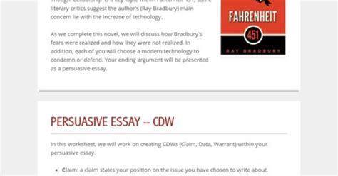 Literary Analysis Essay On Fahrenheit 451 by Fahrenheit 451 Persuasive Essay Activity Claimdatawarrant All Things Literature
