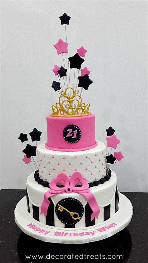 pink starry st birthday cake