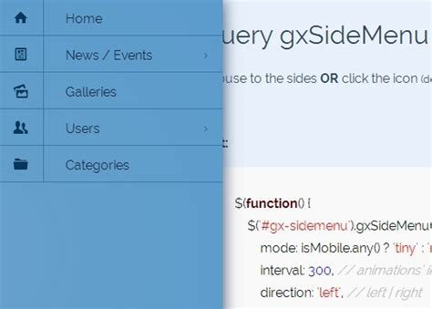 html layout side menu mobile friendly responsive side menu plugin with jquery