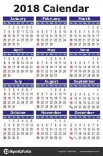 Malaysia 2018 Calendar Jednoduch 233 Vektorov 233 Kalend 225 ř 2018 Stock Vektor