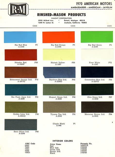 sst color amc paint charts 1954 1988