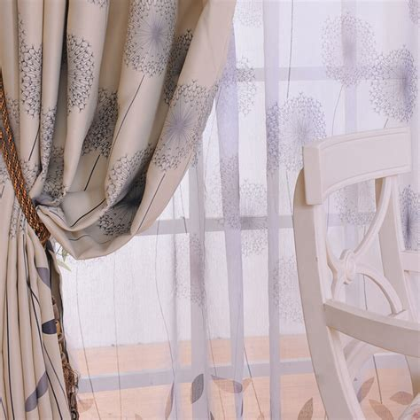 chic curtains cheap discount grey leaf polyester cotton shabby chic curtains