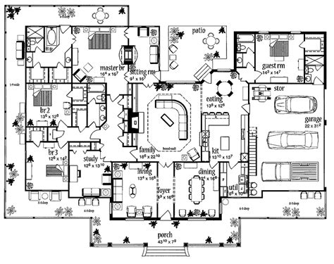farmhouse blueprints floor plans aflfpw13992 1 story farmhouse home with 4