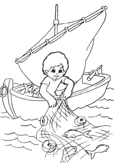boat themed drawing fisherman coloring pages for your kids fish nets