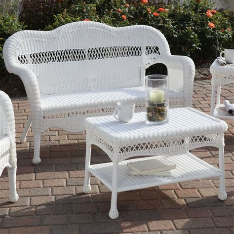 White Outdoor Wicker Furniture Loveseat Sofa All Weather Wicker Resin Outdoor Patio