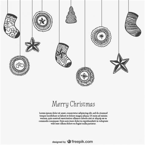 Black And White Card Template With Christmas Ornaments Vector Free Download Black And White Card Templates