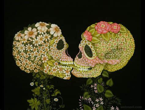 flower skull painting flower skull surreal painting colette 7 image