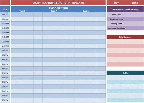 daily planner template excel excel planner templates gives an overview of the tasks you