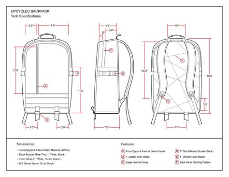 upcycled backpack technical drawing factory kid