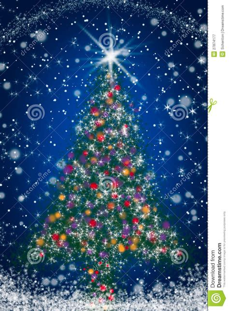 sparkly christmas tree  blue starry night sky royalty  stock photography image