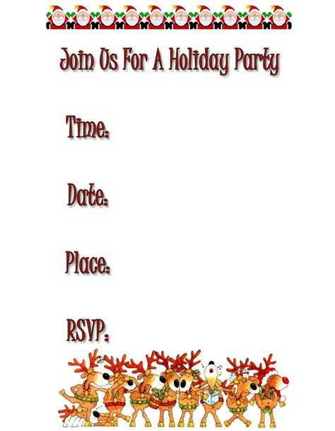printable xmas party invitations free holiday party invitations free christmas invitations