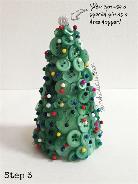 easy christmas crafts 7 button tree speech room style