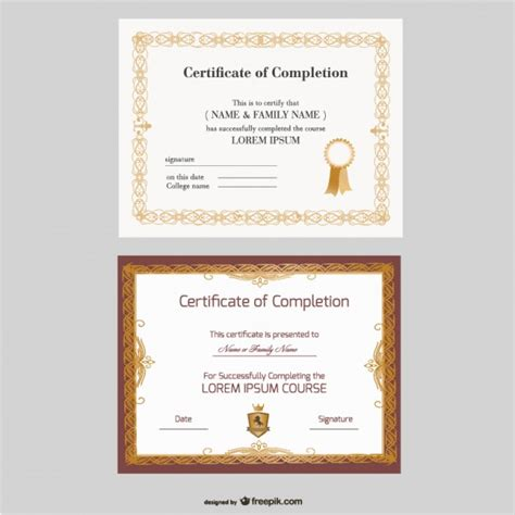 beautiful certificate templates vector free download