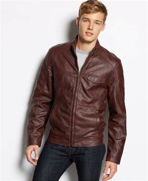 mens moto jacket lyst american rag faux leather moto jacket in brown for men
